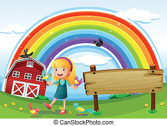 A girl beside the empty signboard with a rainbow in the sky