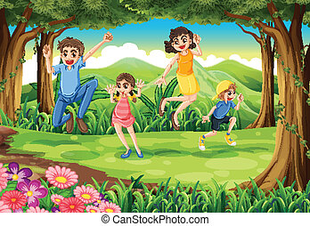 A family jumping in the forest