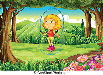 A girl playing in the middle of the forest