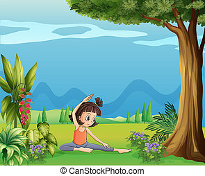 A young girl doing yoga under the tree
