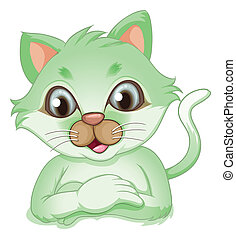 An adorable green cat - Illustration of an adorable green...