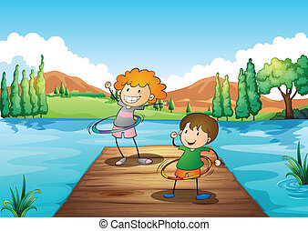 Two kids playing hulahoop at the river - Illustration of the...