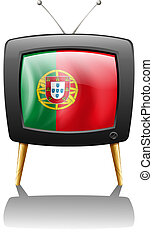 The flag of Portugal inside a television - Illustration of...