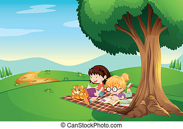 Kids reading under the tree with a cat