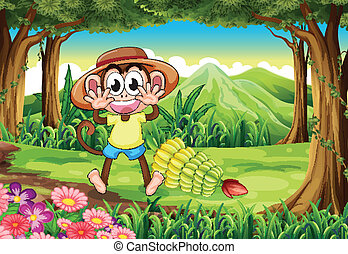 A happy monkey at the forest - Illustration of a happy...