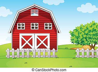 A barnhouse at the hilltop - Illustration of a barnhouse at...