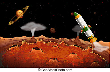A rocket in the outerspace - Illustration of a rocket in the...