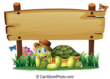 A smiling turtle below the empty wooden board - Illustration...