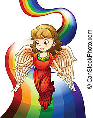 An angel above the rainbow - Illustration of an angel above...