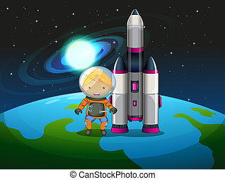 An explorer beside the rocket standing above the earth -...