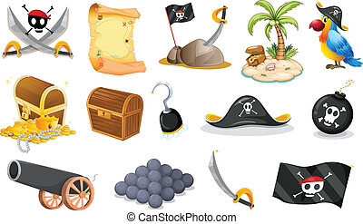 Things related to a pirate - Illustration of the things...