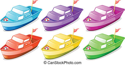 Six colorful boats - Illustration of the six colorful boats...