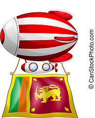 A floating balloon travelling with the flag of SriLanka