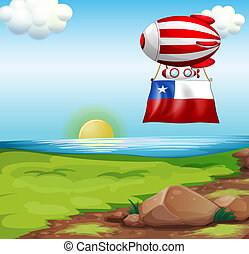 A floating balloon travelling with the flag of Chile