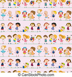 Seamless design with kids - Illustration of a seamless...