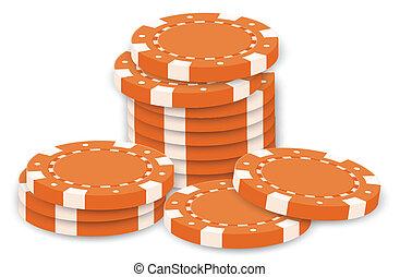 Orange poker chips - Illustration of the orange poker chips...