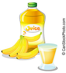 Banana fruit and juice - Illustration of the banana fruit...