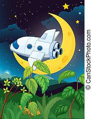 An airplane near the moon
