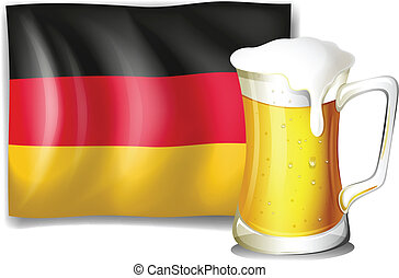 A big mug with cold beer in front of the German flag