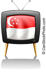 The flag of Singapore inside a television - Illustration of...