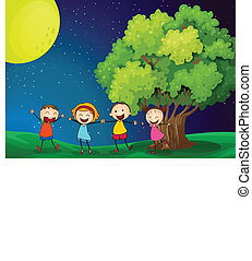 Kids playing happily near the tree - Illustration of the...