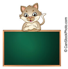 A cat leaning above the blackboard