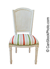 Wooden furniture upholstered chair On a white background