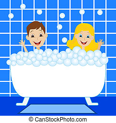 a little girl and boy bath in bath with foam,vector...