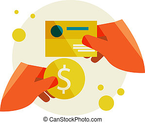 Hand holding a business card and a Hand holding coin -...