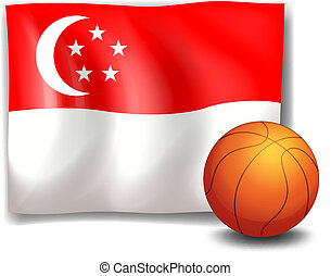 The flag of Singapore with a ball