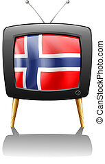 The flag of Norway inside the TV - Illustration of the flag...