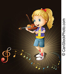 A talented violin player - Illustration of a talented violin...