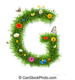 "Spring letter ""G"" - Fresh grass spring letter ""G"" with..."