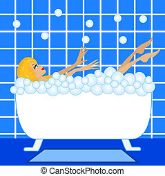 young woman take a bath with foam, vector illustration