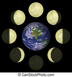 Moon phases and planet Earth - Space illustration of main...