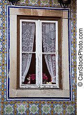 Janela, Renda, cortinas, Ornate, azulejos