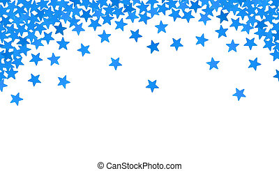Blue stars in the form of confetti on white background