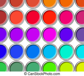 Paint cans color palette, cans opened top view isolated on...