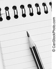 pencil and notepad - spiral notepad with pencil fragment...