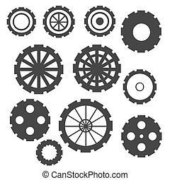 Abstract Cogs Isolated on White Background