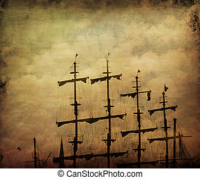 Old pirate ship. Grunge texture added.