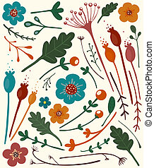 Autmn Flowers Collection - A set of bright flowers and...