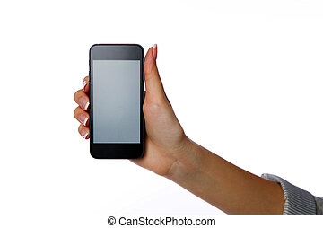 Closeup portrait of a female hand holding smartphone...