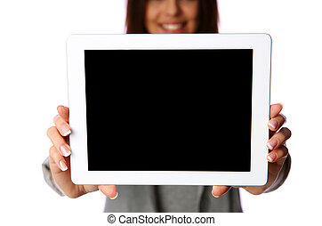 Woman showing tablet computer screen isolated on white background