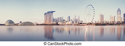 Singapore Skyline - Panoramic image of Singapore`s skyline...