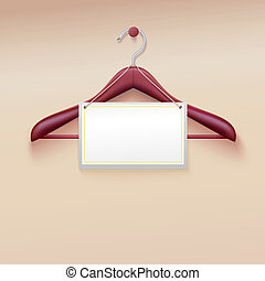 Clothes hanger with tag isolated on cream background. Vector...