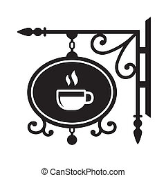 Ancient street signboard coffee house. Vector Illustration