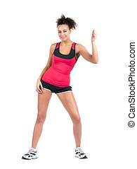 Young sportswoman performing zumba - Cut out image of a...