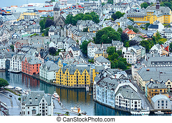 Alesund town Norway summer view from above