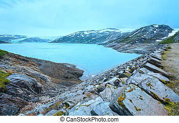 Lake Svartisvatnet and Svartisen Glacier (Norway) - Lake...